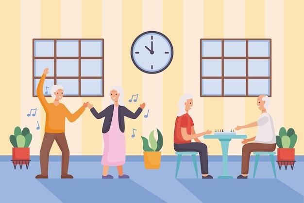 Aktive seniorenpaare, die ludo charaktere illustrationsdesign tanzen und spielen