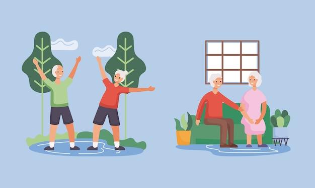 Aktive seniorenpaare im lager- und wohnzimmercharakter-illustrationsdesign
