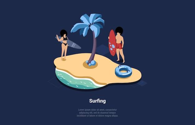 Aktive sommersport-konzept-illustration im isometrischen cartoon-3d-stil. zusammensetzung von zwei personen mit surfbrettern am strand