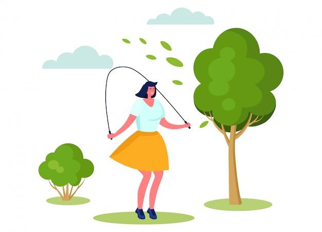 Aktive sportartillustration, karikaturfrauenfigur lächelnd, springend mit springseil auf weiß