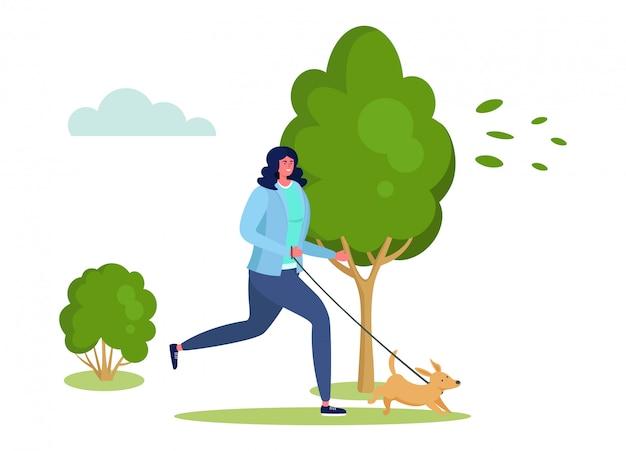 Aktive sportler-illustration, karikaturglücksfrau, die läuft, haben spaß mit haustierhund im stadtpark auf weiß
