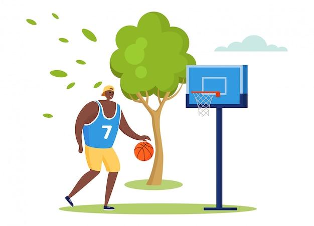 Aktive sportleuteillustration, karikaturmanncharaktertraining allein, basketball im sommerstadtpark auf weiß spielend