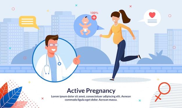 Aktive und gesunde schwangerschaft flache banner