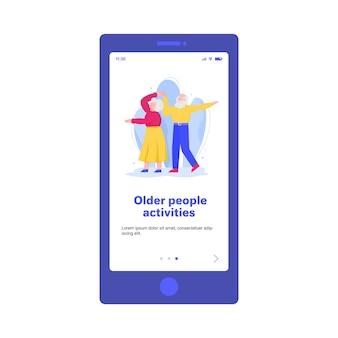 Aktiver älterer mann und frau tanzen zusammen landingpage-vorlage für mobile app