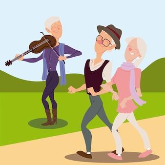 Aktiver, glücklicher alter mann der senioren, der geige spielt und altes paar geht illustration