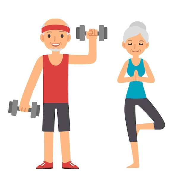 Aktiver und gesunder älterer paarkarikaturmann mit hanteln und frau, die yoga tun, lokalisiert auf weißem hintergrund. moderner einfacher flacher stil.