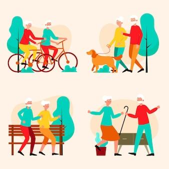 Aktives konzept für ältere menschen Kostenlosen Vektoren