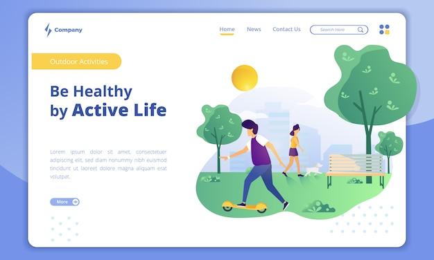 Aktives leben mit outdoor-aktivitäten konzept auf der landing page