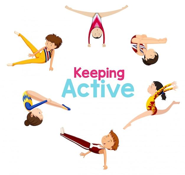 Aktives logo mit gymnastiksportler halten