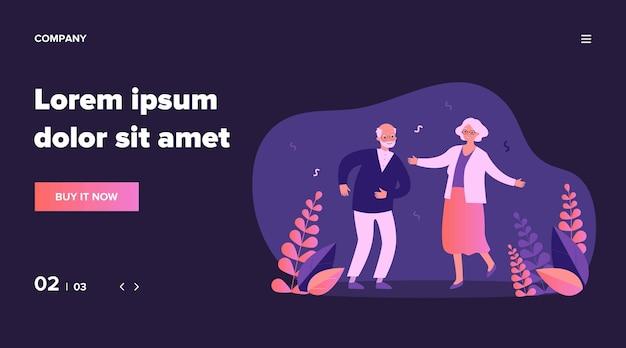 Aktives lustiges altes ehepaar tanzt auf party. großeltern feiern jubiläum. illustration für seniorenalter, ruhestand, spaß haben, feierkonzept