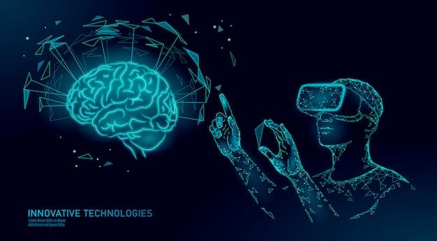 Aktives menschliches gehirn vr-headset menthal-fähigkeiten der nächsten stufe. mann, der brille augmented reality geometrisches blaues glühen trägt.