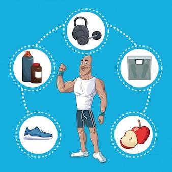 Aktives sportleben des gesunden mannes