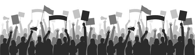 Aktivisten protestieren gegen nahtlose grenze. streikgruppendemonstration, demonstrant stehend haltend, gleichstellungsmanifestation. vektor-illustration