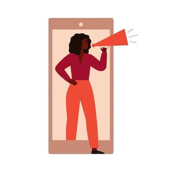 Aktivistin der jungen schwarzen frau protestiert vom handybildschirm.