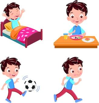 Aktivität aufwachen, laufen ball frühstück vektor