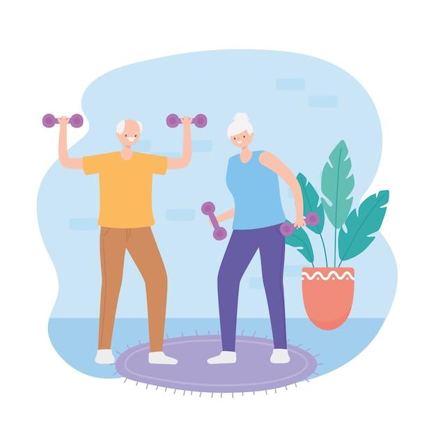 Aktivität senioren, alter mann und frau, die gewichtssport in raumillustration heben