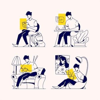 Aktivitäten der menschen während der pandemie. leute, die ein buch lesen, sich notizen machen, kaffee trinken, spiele spielen, einen videoanruf tätigen.