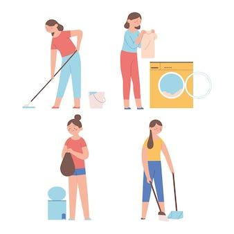 Aktivitäten von hausfrauen machen hausarbeit