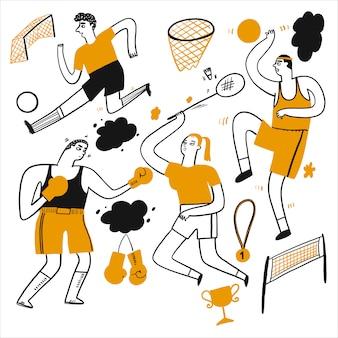 Aktivitäten von menschen, die verschiedene sportarten ausüben,