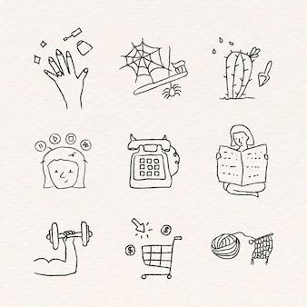 Aktivitäten zu hause doodle style set