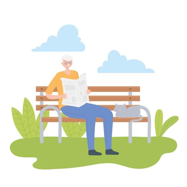 Aktivitäts-senioren, alter mann, der zeitung in der parkbank mit katzenillustration liest