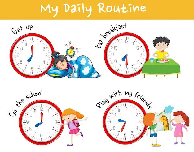 Aktivitätsdiagramm, das unterschiedliche tägliche routine von kindern zeigt