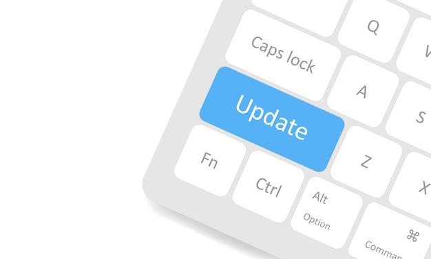 Aktualisieren sie die schaltfläche auf der weißen tastatur. aktualisieren sie das system oder die apps. vektor-eps 10
