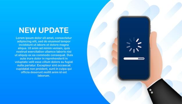 Aktualisierung der systemsoftware, aktualisierung der daten oder synchronisierung mit dem fortschrittsbalken auf dem bildschirm Premium Vektoren