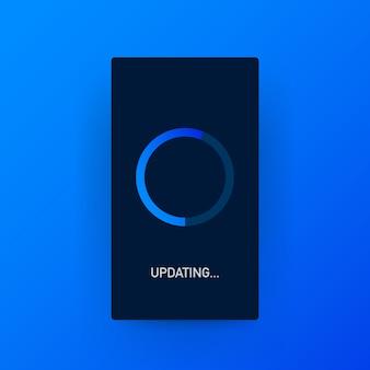 Aktualisierung der systemsoftware, aktualisierung der daten oder synchronisierung mit der fortschrittsanzeige auf dem bildschirm.