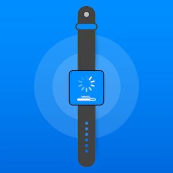 Aktualisierung der systemsoftware, datenaktualisierung oder synchronisierung mit dem fortschrittsbalken auf dem bildschirm. vektor-illustration