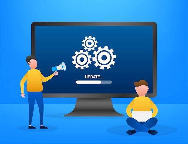 Aktualisierung der systemsoftware, datenaktualisierung oder synchronisierung mit fortschrittsbalken auf dem bildschirm. vektor-illustration.