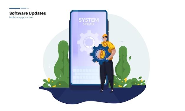 Aktualisierung des mobilen anwendungssystems wird gewartet