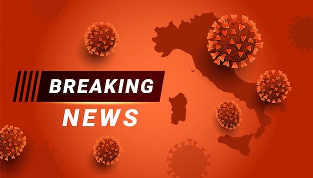 Aktuelle nachrichten covid-19 coronavirus-konzept mit speicherplatz. italien weltkarte auf rotem hintergrund.
