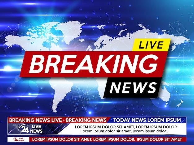 Aktuelle nachrichten live auf der weltkarte auf dem blau.