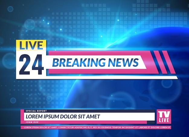 Aktuelle nachrichten. tv-berichtsbildschirm banner vorlage design. aktuelle fernsehnachrichten, online-übertragung