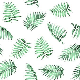 Aktuelle palmblätter auf nahtlosem muster für stoffstruktur. vektorillustration.
