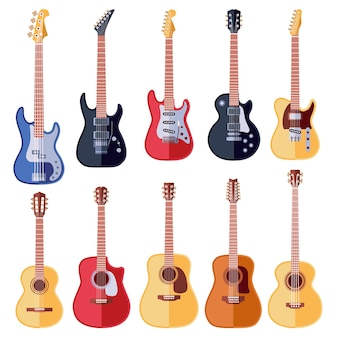 Akustik- und e-gitarren-set