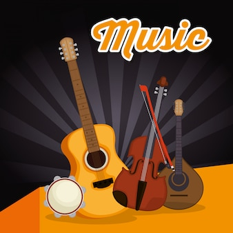 Akustikgitarre mit instrumenten