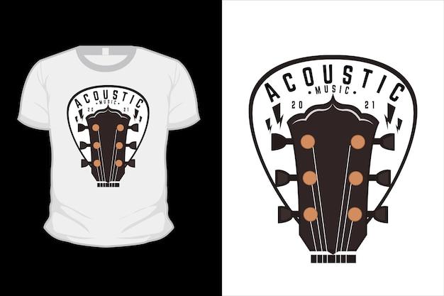 Akustisches musikillustrations-t-shirt-design mit gitarre