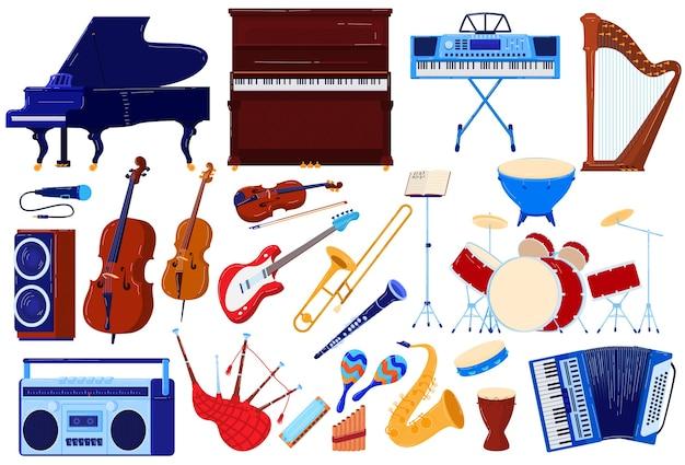 Akustisches musikinstrument, orchester-audiokonzert-vektorillustrationssatz. musikalische instrumentalsammlung von violin-harfen-saxophon-akkordeon