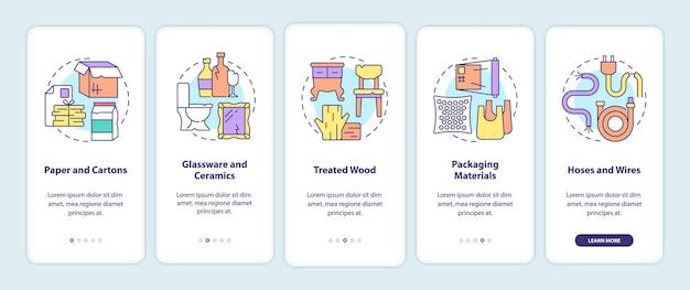 Akzeptierte abfallarten beim onboarding der mobilen app-seitenseite. walkthrough zu recycelbaren materialien in 5 schritten mit grafischen anweisungen und konzepten. ui-, ux-, gui-vektorvorlage mit linearen farbillustrationen