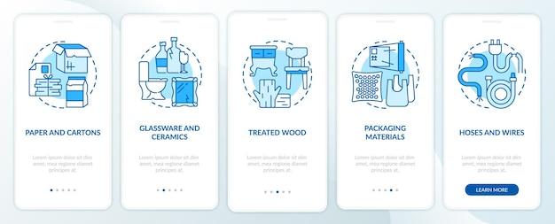 Akzeptierte abfallarten blauer onboarding-seitenbildschirm der mobilen app. walkthrough zu recycelbaren materialien in 5 schritten mit grafischen anweisungen und konzepten. ui-, ux-, gui-vektorvorlage mit linearen farbillustrationen