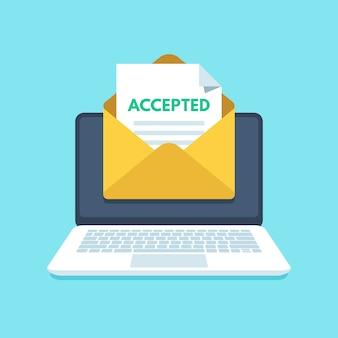 Akzeptierte e-mail im umschlag