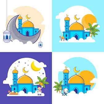 Al eid - adh, al eid-fitr und islamische neujahrs-cartoon-illustration. islamisches icon-set. flacher cartoon