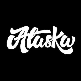Alaska. schriftzug auf schwarzem hintergrund. illustration
