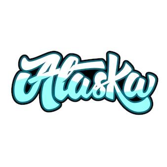 Alaska. schriftzug auf weißem hintergrund. illustration