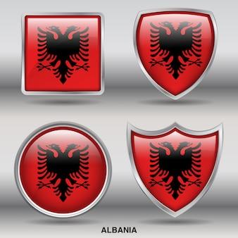 Albanien flag bevel 4 formen symbol