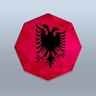 Albanien-flagge mit octagone-designvektor