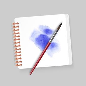 Album zum zeichnen mit einem fleck aquarell und realistischen pinseln, illustration