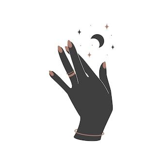 Alchemie esoterisch magischer himmlischer talisman mit frauenhand mit ringen und heiliger geometrie des mondes. objekt des spirituellen okkultismus. vektor-illustration